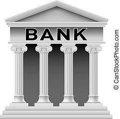 Bank building symbol - Icon of Bank building Illustration on...