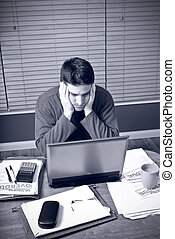 Man is stressed by financial troubles - A man is stressed by...