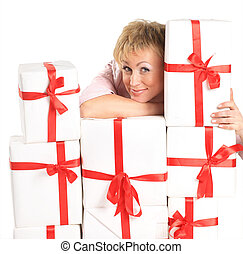 happy woman with a gift