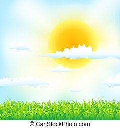 spring background with grass, sun and clouds