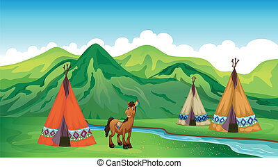 Tents and a smiling horse - Illustration of tents and a...