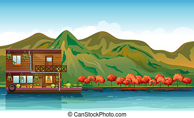 A river and a boat house - Illustration of a river and a...