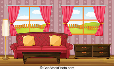 A red sofa and side table - Illustration of a red sofa and...