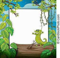 A dacing chameleon and a white board - Illustration of a...