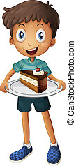 A smiling boy with cake - Illustration of a smiling boy with...