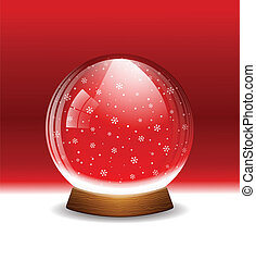 Vector snow globe - A vector illustration of a transparent...
