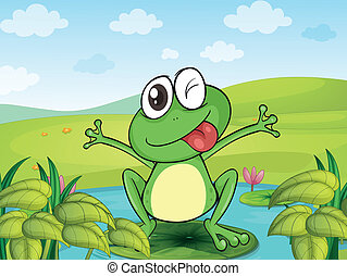 A smiling frog