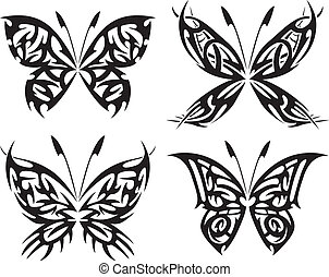 Flaming butterflies - Tattoo with abstract flaming...