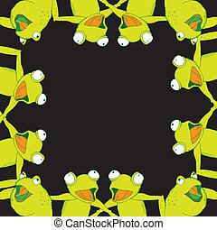 Frog background frame singing- twelve frogs on simple black...