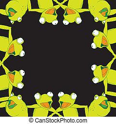 Frog background frame singing- twelve frogs on simple black...