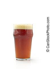 pinte, rouges, bière, isolé, blanc, fond