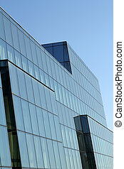 office building with glass wall detail