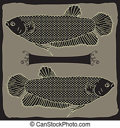 Fishes - original drawing of two fish on gray background