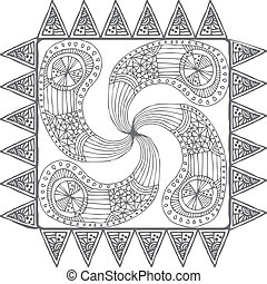 Hand draw line art ornate design