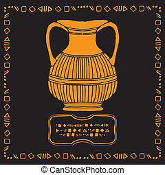 vintage vase drawing on black background