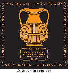 vintage vase drawing on black background