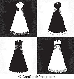 variations of wedding gown in black and white combination