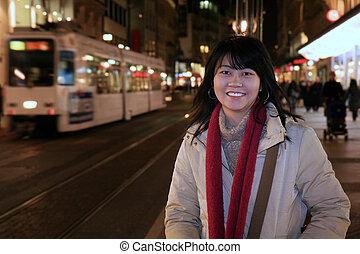 Asian Traveler in Europe - Asian woman traveler walking...