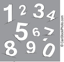 White paper number insert in gray paper background