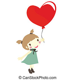 girl with love balloons - girl holiding a red heart shaped...