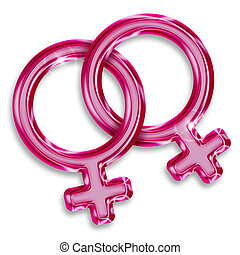 illustration of two female gender symbols on white...
