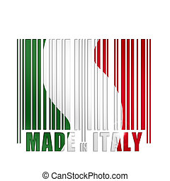 barcode with Italian flag colors on white background