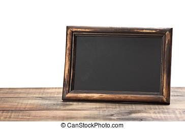 empty blackboard with wooden frame - empty blackboard with...