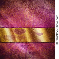 Computer designed highly detailed pink and purple grunge border frame with gold ribbon, vintage texture