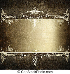 Computer designed highly detailed dark grunge border frame with gray silver ribbon, vintage texture