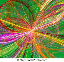 Colorful Fractal Burst of Loops - A dynamic fractal image of...
