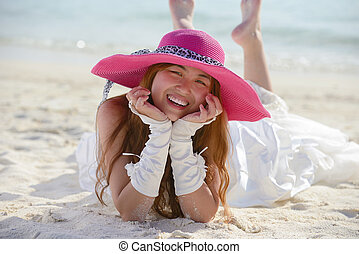 asian bride on beach - asian bride with a veil on the beach...