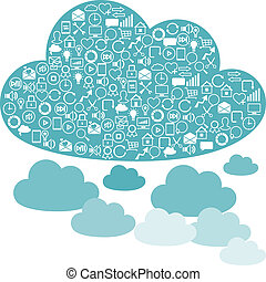 Social network clouds backgrounds of SEO internet icons