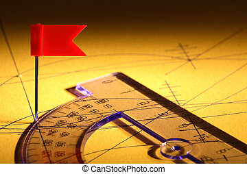 Drawing Pin And Ruler - Red drawing pin flag near ruler on...