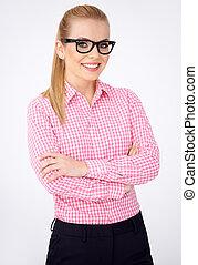 Portrait of a happy blonde geek girl in glasses - Portrait...