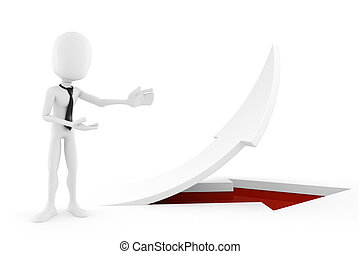 3d man standing near an arrow pointing up