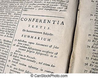 Theological Text - Latin Theological Text in an old book...