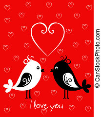 Happy Valentines Day card with birds - Happy Valentines Day...
