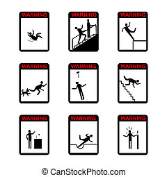 People in action Warning Hazard Signs - set of isolated...