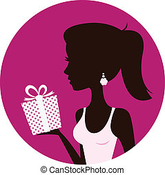 Beautiful woman with gift box isolated on pink