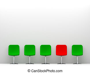One Red Chair and Four Green Chairs in the White Interior. Copy Space on the Wall