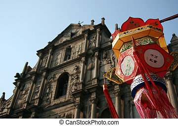 Chinese Lantern - uins of St Pauls Cathedral, Macau -...
