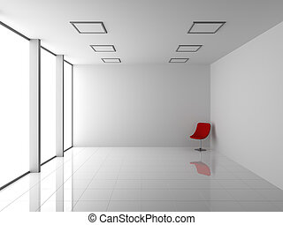 Empty Modern White Interior with Red Chair