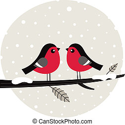 Winter birds sitting on the branch - Cute birds on snowing...