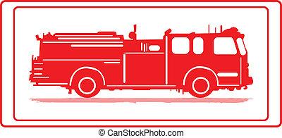 Firetruck. - Firetruck in red silhouette.