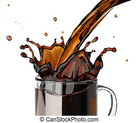 Pouring coffee splashing into a glass mug. On white...