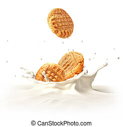 Two cookies biscuits falling into milk splashing. - Two...