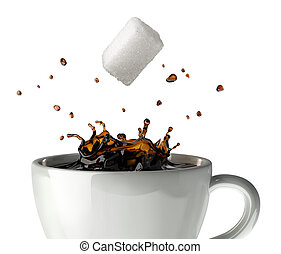 Sugar cube falling and splashing into a cup of black coffee....