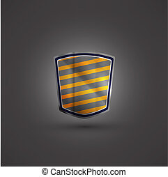 Glossy black and yellow shield emblem on black background