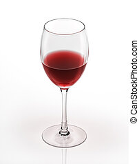 Red wine glass. On white background.