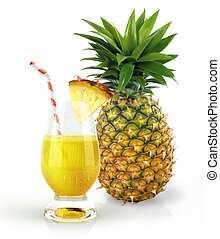 Pineapple and drink glass, with a fruit chunk and straw....